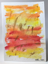 Original Hand Painted Greeting Card - Abstract Yellow, Orange, Red and Gold - eDgE dEsiGn London