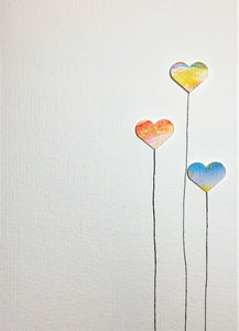Hand-painted greeting card - Three abstract heart flowers design - eDgE dEsiGn London