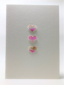 Original Hand Painted Greeting Card - Three Pink, White and Gold Hearts - eDgE dEsiGn London