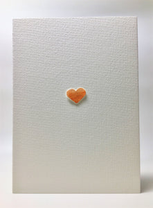 Original Hand Painted Greeting Card - Orange/Gold Heart - eDgE dEsiGn London
