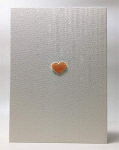 Original Hand Painted Greeting Card - Orange/Gold Heart