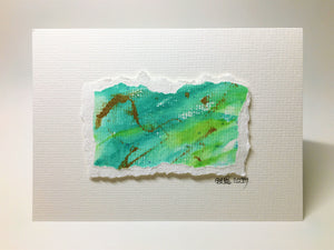 Original Hand Painted Greeting Card - Green and Gold Design - eDgE dEsiGn London