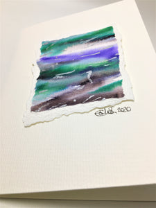 Original Hand Painted Greeting Card - Abstract Black, Green, Purple, Blue and Silver Design - eDgE dEsiGn London