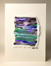 Original Hand Painted Greeting Card - Abstract Green, Black, Purple and Silver Design - eDgE dEsiGn London