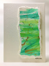 Original Hand Painted Greeting Card - Abstract Green, Blue and Gold #2 - eDgE dEsiGn London