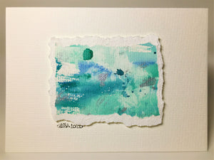Original Hand Painted Greeting Card - Abstract Green, Blue and Silver - eDgE dEsiGn London