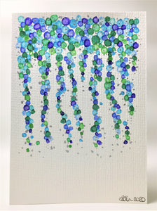 Original Hand Painted Greeting Card - Abstract Blue, Purple, Green, and Silver Strand - eDgE dEsiGn London