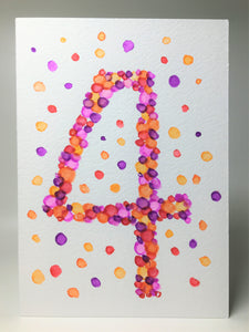 Original Hand Painted Birthday Card - 4th Birthday - Purple/Pink/Orange/Red Bubbles Design - eDgE dEsiGn London