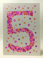Original Hand Painted Birthday Card - 5th Birthday - Pink/Purple/Orange Bubbles Design - eDgE dEsiGn London