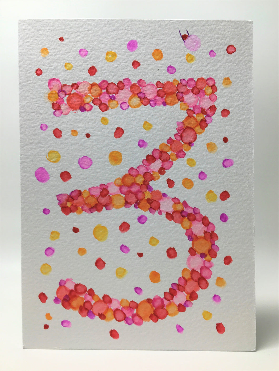 Original Hand Painted Birthday Card - 3rd Birthday - Pink/Orange/Red Bubbles Design - eDgE dEsiGn London