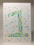 Original Hand Painted Birthday Card - 1st Birthday - Orange/Turquoise/Green Bubbles Design