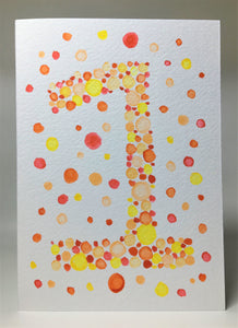 Original Hand Painted Birthday Card - 1st Birthday - Orange/Yellow/Red Bubbles Design - eDgE dEsiGn London