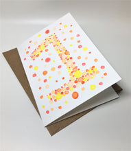 Original Hand Painted Birthday Card - 1st Birthday - Orange/Yellow/Red Bubbles Design