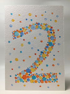 Original Hand Painted Birthday Card - 2nd Birthday - Orange/Turquoise/Blue/Red Bubbles Design