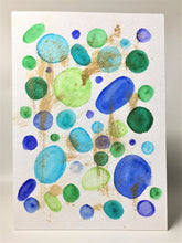 Original Hand Painted Greeting Card - Green, Blue Circles with Gold
