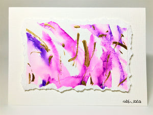 Original Hand Painted Greeting Card - Abstract Pink, Purple and Gold Raised Design