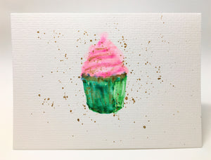 Original Hand Painted Greeting Card - Green, Pink & Gold Cupcake
