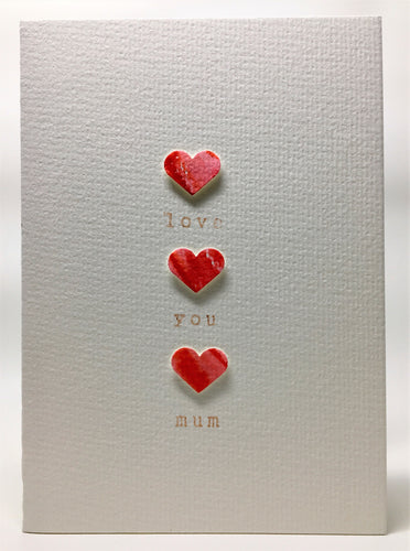 Original Hand Painted Mother's Day Card - 3 Red and Pink Hearts