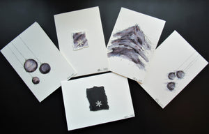Original Hand painted Christmas cards - 5 unique designs - black, silver and grey