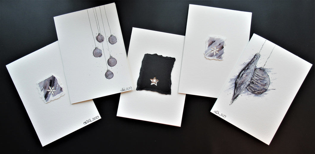 Original Hand painted Christmas cards - 5 unique designs - grey, black and silver