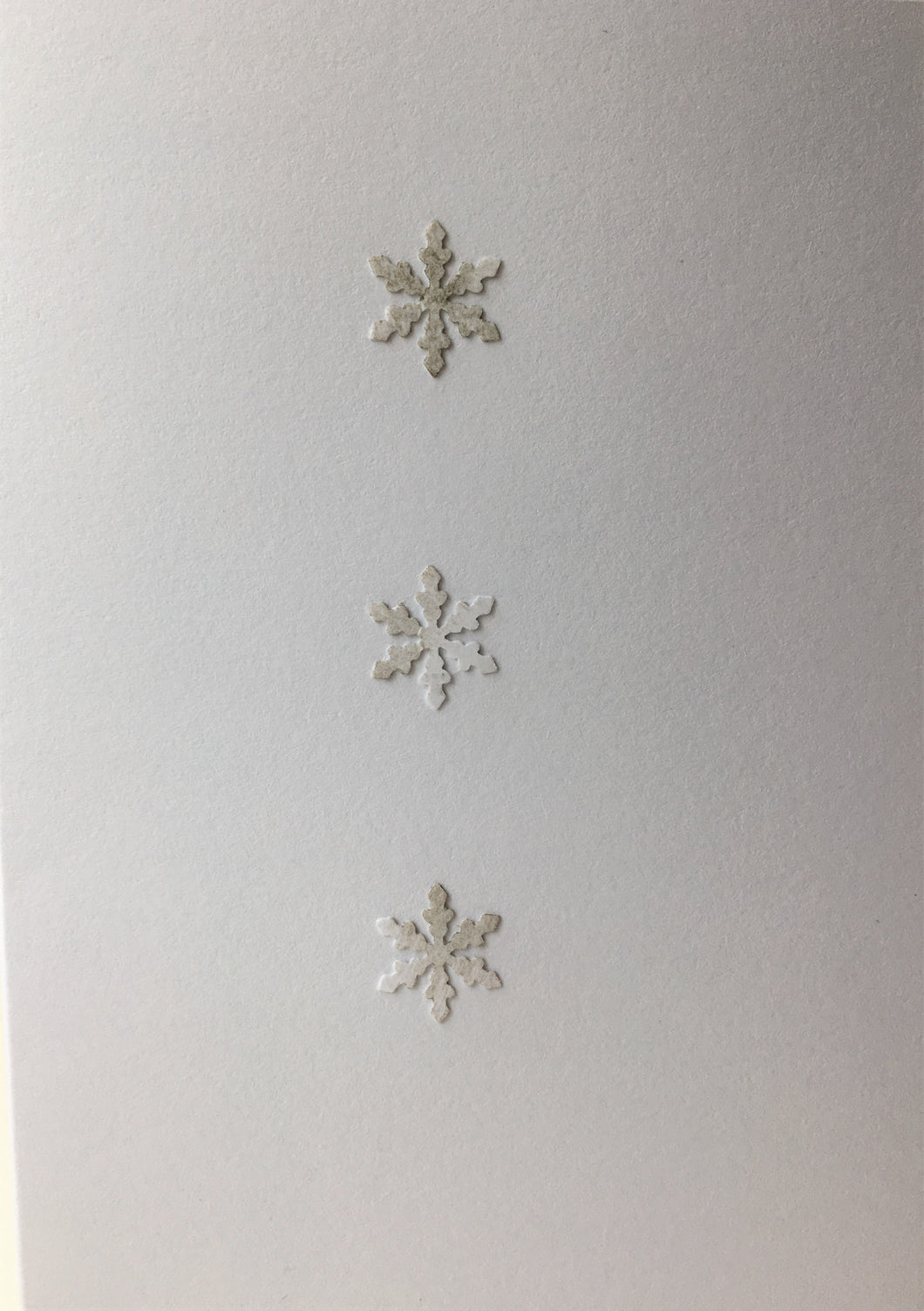 Christmas Card - Three Snowflakes with a hint of silver - eDgE dEsiGn London