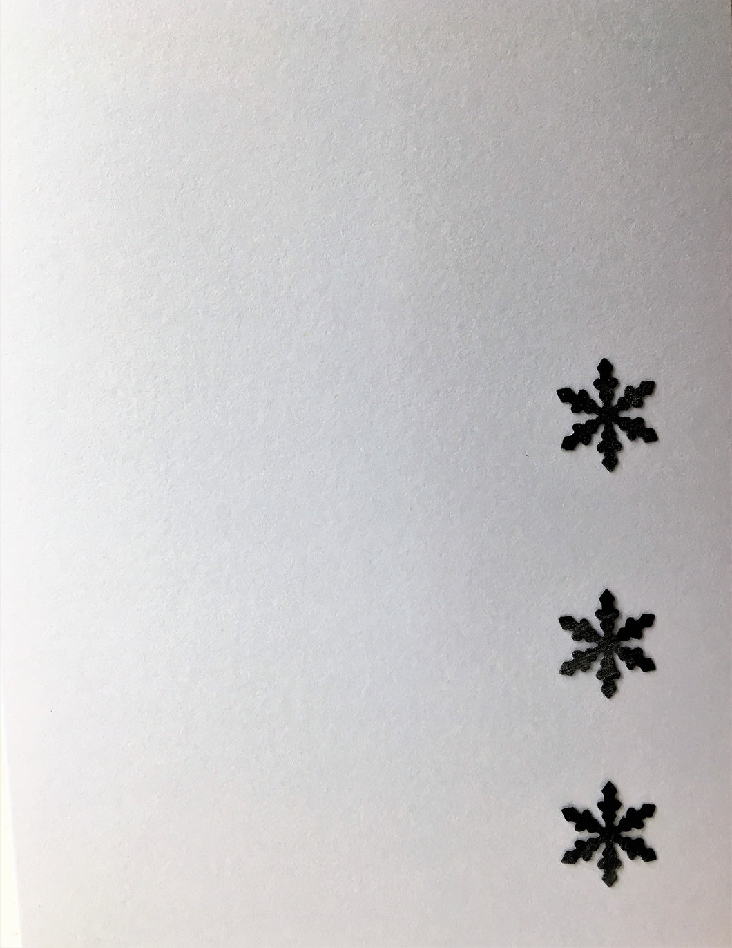 Christmas card - Three black snowflakes on white with hint of silver - eDgE dEsiGn London