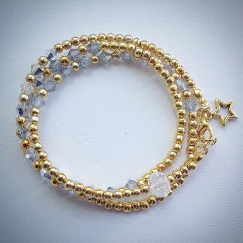 Beaded Lacelet - Necklace and bracelet - Gold with Silver Swarovski Crystals - eDgE dEsiGn London