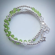 Beaded Lacelet - Necklace and bracelet - Silver with Green Swarovski Crystals - eDgE dEsiGn London