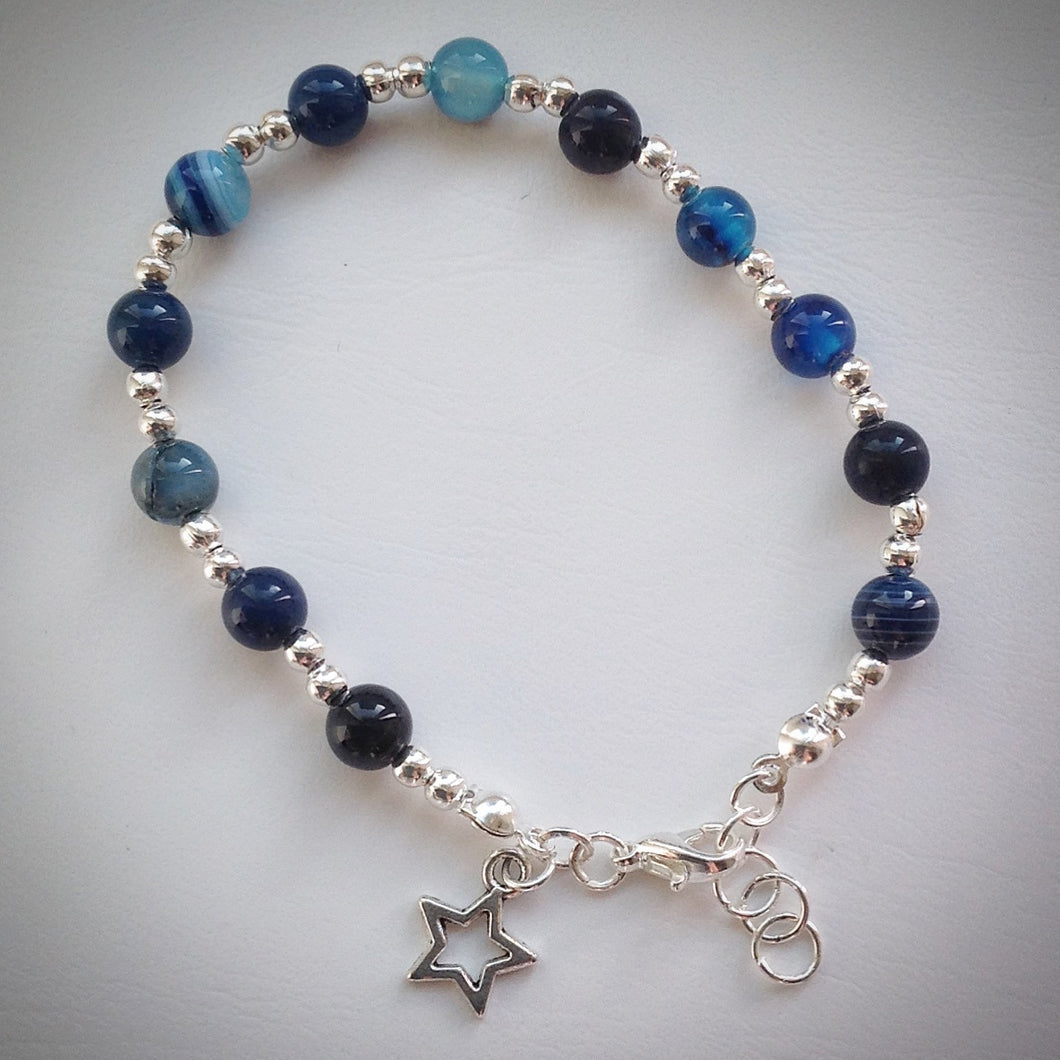 Beaded Bracelet - Blue banded Agate with Silver Plated Beads and Star Pendant - eDgE dEsiGn London