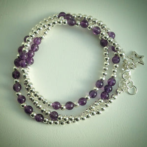 Beaded Lacelet - Necklace or Bracelet - Amethyst and Silver beads - eDgE dEsiGn London