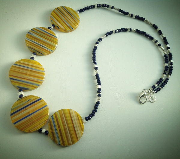 Beaded necklace - Large Yellow and Blue Millefiori discs with navy and silver beads - eDgE dEsiGn London