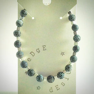Beaded bracelet - grey frosted agate and silver cube beads - eDgE dEsiGn London
