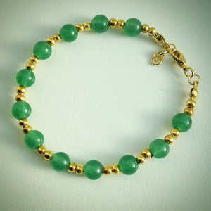 Beaded bracelet - Gold with Malaysian Jade - eDgE dEsiGn London
