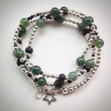 Beaded Lacelet - Necklace and bracelet - Silver with Green Agate and Black beads - eDgE dEsiGn London