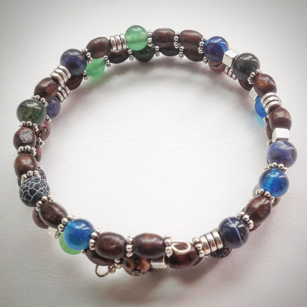 Beaded memory wire bracelet - Wood, Jade, Agate, Obsidian, Jasper and Sodalite beads - eDgE dEsiGn London