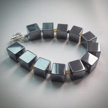 Beaded bracelet - Hematite Cube beads with orange glass cubes - eDgE dEsiGn London