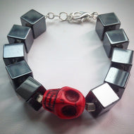 Beaded bracelet - Hematite cube beads and Red Howlite Skull - eDgE dEsiGn London