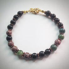 Beaded Bracelet - Onyx, Agate, Jasper with antique gold fastenings - eDgE dEsiGn London