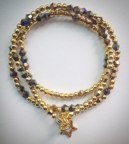 Beaded Lacelet - Necklace and bracelet - Gold with Swarovski Crystal Beads and Star - eDgE dEsiGn London
