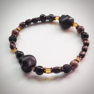 Beaded bracelet - Black Skulls, Jasper, Onyx, glass and wooden beads - eDgE dEsiGn London