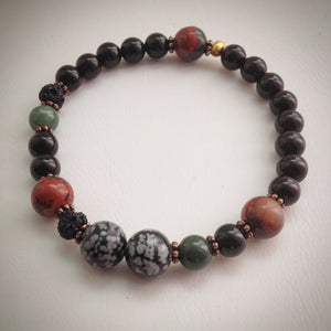 Beaded bracelet - Onyx, Volcanic, Agate, Obsidian and Jasper beads - eDgE dEsiGn London