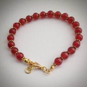 Beaded bracelet - Red Carnelian Beads with Gold Plated Spacers and Adjustable Clasp Fastening - eDgE dEsiGn London