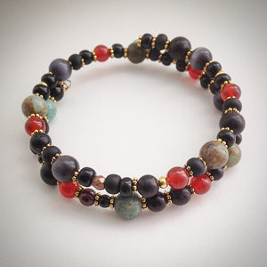 Beaded Memory Wire Bracelet - Carnelian, Onyx and Coffee Bean Jasper - Double Wrap Bangle - eDgE dEsiGn London