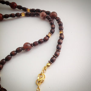 Beaded Necklace - Wood with Red Jasper, Orange Cube Beads and Gold - eDgE dEsiGn London