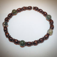 Beaded bracelet - Moss green Agate and wooden beads with antique Tibetan spacers - eDgE dEsiGn London
