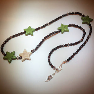 Beaded Necklace - Wood, Silver and Howlite Stars - eDgE dEsiGn London
