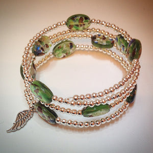 Beaded memory wire bracelet - Oval Venetian glass and silver beads with wing pendant - eDgE dEsiGn London