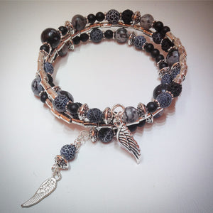 Beaded memory wire bracelet - Silver, Agate, Onyx, Obsidian, Volcanic beads and wing pendants - eDgE dEsiGn London