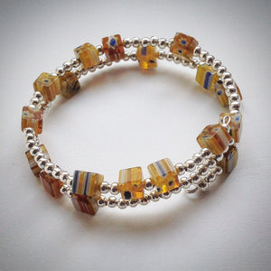 Beaded Memory Wire Bracelet - double wrap silver with Millefiori Cube beads - eDgE dEsiGn London
