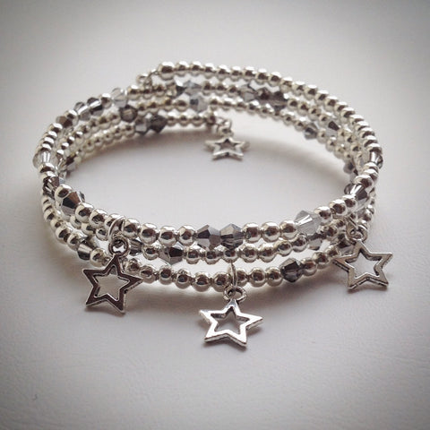 Beaded memory wire bracelet - triple wrap silver with Swarovski and stars - eDgE dEsiGn London